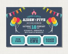 Circus or Carnival Birthday Invitation - Printable