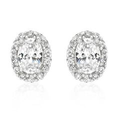 White Gold Rhodium Bonded #Estate #Earrings with Clear Round Cut and Oval Cut #CubicZirconia in Silver Tone