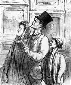 Poster-Leinwandbild-Family-visiting-the-Paris-salon-of-1863-H-Daumier