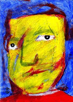 the man in the coffee shop e9Art ACEO Outsider Art Brut Folk Neo-Expressionism #OutsiderArt