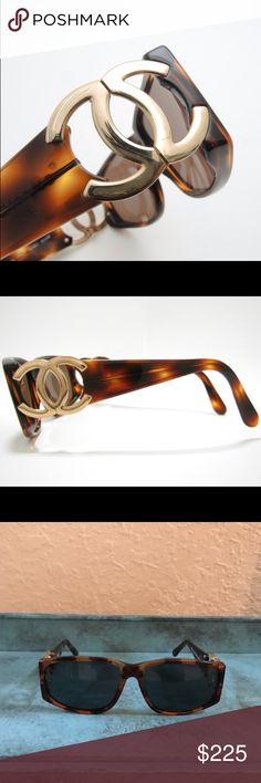 "Authentic CHANEL Sunglases Tortoise shell Gold hardware  Style # 02461 91235 Lens height 1.75"" Width is 5.25"" Side length is 5.5"" CC Height is 1"" X 1.5"" CHANEL Other"
