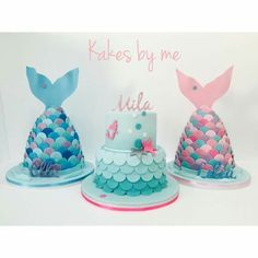 3 lovely mermaid cakes, which one do you choose? Little Mermaid Birthday, Little Mermaid Parties, Girly Cakes, Cute Cakes, Fondant Cakes, Cupcake Cakes, Sirenita Cake, Sea Cakes, Mermaid Cakes