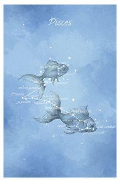 Astronomie Kunst Sternbild Fische Fische von LaPetiteMascarade