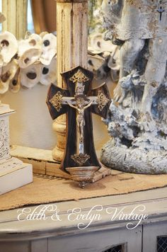 Antique French Holy Water Font Crucifix Wood by edithandevelyn, $115.00