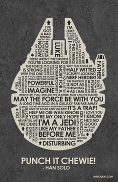 Star Wars Quote Poster - this specific item no longer made, but there's similar Star Wars & other cool, nerd-land stuff at this etsy shop. Star Wars Party, Theme Star Wars, Star Wars Film, Star Wars Rebels, Star Trek, Starwars, Humour Geek, Anniversaire Star Wars, Auryn