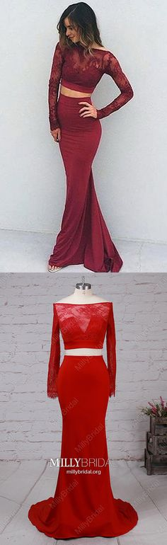 Long Prom Dresses with Sleeves,Burgundy Formal Evening Dresses Two Piece,Modest Lace Military Ball Dresses Mermaid,Sexy Jersey Wedding Party Dresses Open Back,Long Sleeve Pageant Graduation Dresses Backless #MillyBridal #twopiecedress #burgundydress #longsleevedresses