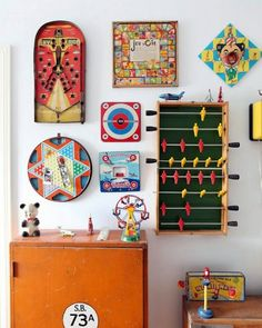 vintage toys on the wall