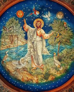 "Christ is risen! The Resurrection of Christ ( source ) ""Now in the springtime, when nature is wearing its mo. Religious Images, Religious Icons, Religious Art, Byzantine Art, Byzantine Icons, Christ Pantocrator, Religious Paintings, Orthodox Christianity, Catholic Art"