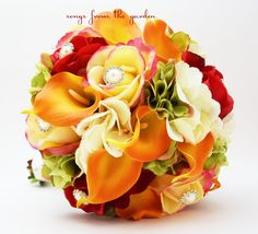 Autumn Wedding Bridal Bouquet, Bridesmaid Bouquet, and Groom's Boutonniere