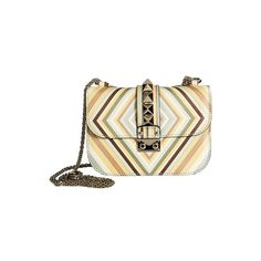"""Valentino Garavani """"Native Couture 1975"""" Bag ($2,594) ❤ liked on Polyvore featuring bags, handbags, shoulder bags, dlr, multicolor, white shoulder bag, leather shoulder bag, genuine leather shoulder bag, valentino handbags and studded leather handbag"""