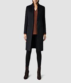 Womens Eryn Coat (Black) | ALLSAINTS.com