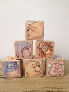 Winnie the Pooh // Childrens Blocks // Baby Shower Gift // Centerpiece // Nursery Decor // Natural Wood Toy on Etsy, $26.00