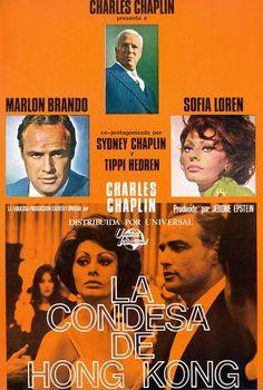 """La condesa de Hong Kong"" (1967) Dirigida por Charles Chaplin e interpretada por     Marlon Brando, Sophia Loren, Sydney Chaplin, Tippi Hedren, Charles Chaplin, Patrick Cargill, Margaret Rutherford, Michael Medwin."