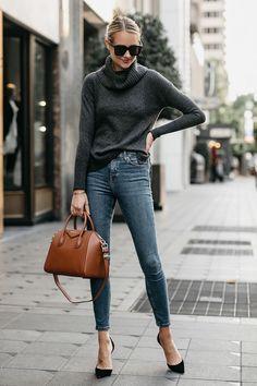 Blonde Woman Wearing Grey Turtleneck Sweater Denim Skinny Jeans Givenchy Antigona Cognac Handbag Black Pumps Fashion Jackson Dallas Blogger Fashion Blogger Street Style