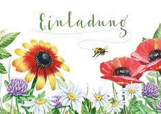Geburtstagseinladung Blumenwiese und Biene - Einladungskarten #einladungskarte #einladung #geburtstag #gartengeburtstag #einladungskarten #einladungen #kaartje2go