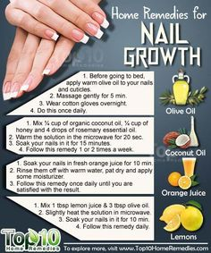 Remedies for Nail Growth Natural Home Remedies for Nail Growth. Use these home remedies to grow your nails, fast and strong.Natural Home Remedies for Nail Growth. Use these home remedies to grow your nails, fast and strong. Top 10 Home Remedies, Natural Home Remedies, Herbal Remedies, Health Remedies, Nail Growth Tips, Fast Nail Growth, Nail Care Tips, Nagellack Design, How To Grow Nails