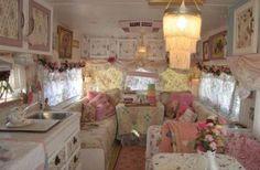 Inside of a very shabby chic caravan.