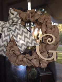 Burlap wreath with chevron bow and monogram