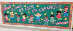 "This reads ""como se dice en espanol"" which translates ""how do you say in spanish?"" Stars have spanish word and under it is the english translation. Fun for the kids. Spanish Bulletin Boards, Welcome Bulletin Boards, Creative Bulletin Boards, Classroom Bulletin Boards, Classroom Ideas, Elementary Spanish Classroom, Preschool Spanish, Teaching Spanish, Preschool Crafts"