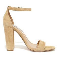 Steve Madden Carrson Sand Suede Leather Ankle Strap Heels ($89) ❤ liked on Polyvore featuring shoes, pumps, ankle strap shoes, steve madden footwear, suede shoes, ankle tie shoes and steve-madden shoes