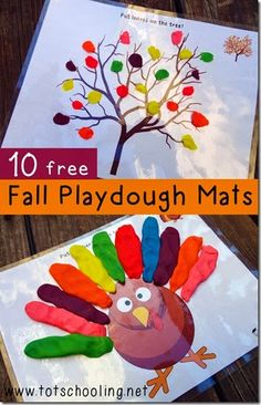 Fall Playdough Mats & Other Fall Activities : 10 Free Fall Playdough Mats! 10 FREE Fall themed Playdough Mats including Halloween and Thanksgiving playdough activities. Playdough Activities, Motor Activities, Craft Activities, Preschool Crafts, Crafts For Kids, Toddler Preschool, Preschool Colors, Halloween Activities, Preschool Learning