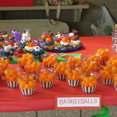 Basketball-cheese balls-cup cake liners w/ clear cups