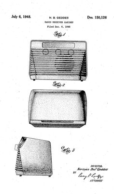 Norman Bel Geddes - Design Patent for Radio Receiver Cabinet (1948)
