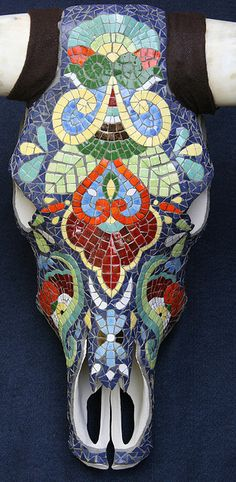 """Luis"" - Talavera skull by CrystalThomas, via Flickr"
