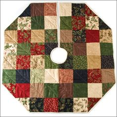 Quilted Christmas tree skirt. Change colours for red and white or pale blue and white.