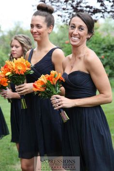 Navy & orange bridesmaids