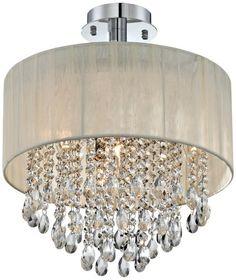 Amazon.com : Possini Euro Jolie Antique Ivory Shade Crystal Ceiling Light : Ceiling Pendant Fixtures : Home Improvement - $199