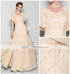 Sheath/Column Plus Sizes / Petite Mother of the Bride Dress - Pearl Pink Floor-length Short Sleeve Chiffon 2015 – $180.69