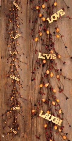 Country Primitive Folk Art LIVE LAUGH LOVE BERRY GARLAND Burgundy Mustard Swag