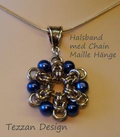Necklace with Chain Maille Pendant - never tried adding beads to maille, maybe it's time!