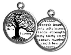 "Two sided charm or pendant with ""grow strong"" and with a word collage. Vintage collage art with the tree of life. Wear alone or combine with more charms to create an individualized gift for your friend or family!! Each charm has a clip at the top that will easily attach to any of our necklace or bracelet chains! $13.99 by Pick Up Sticks Jewelry."