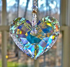"""Crystal Heart Sun Catcher, Car Charm Swarovski Aurora Borealis Heart Glows in Low Light - Choice of 3 Lengths for Home or Car - """"ANIKA""""crystal Swarovski Crystal Figurines, Swarovski Crystals, Shades Of Gold, Sun Catcher, Wind Chimes, Heart Shapes, Glass Art, Jewelery, Bling"""