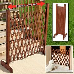 Buy 70 Expanding Portable Fence Wooden Screen Dog Gate Pet Safety Kid Patio Lawn at online store Garden Fence Panels, Front Yard Fence, Garden Fencing, Lawn And Garden, Fence Planters, Fence Art, Lattice Fence, Pallet Fence, Dog Fence