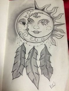 Dotwork Dreamcatcher - Stunning Sun and Moon Tattoo Ideas - Photos #MoonTattooIdeas