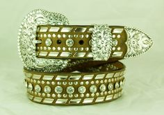 MONIQUE Women Perforated Oval Rhinestone Cross Flower Engraved 1.5 Belt Buckle