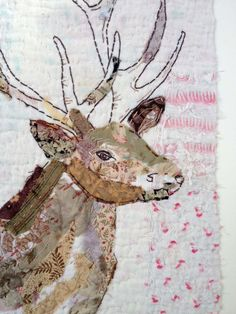 Unframed appliqued and hand embroidered deer on by MandyPattullo