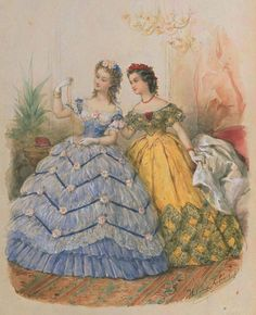 I love them both, but I could see myself in the yellow one - with red trim! La Mode Illustrée, 1863 - Visit to grab an amazing super hero shirt now on sale Civil War Fashion, 1800s Fashion, 19th Century Fashion, Edwardian Fashion, Vintage Fashion, Fashion Goth, French Fashion, Ladies Fashion, Vintage Gowns