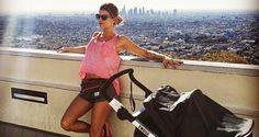 Elisabetta Canalis: jogging col passeggino per mamme sportive - Mamme a spillo