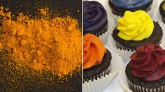 No more artificial dyes in food! Turmeric, on left, was used to make the yellow in the cupcakes on the right.