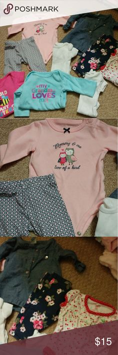 Newborn girl lot 2 outfits, 4short onesies,one long sleeved Matching Sets