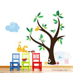 Get It Now Children Wall Decal Wall Sticker Kids Decal - Curious Dog and Ladybug with Clouds and Tree - by evgieNev. Baby Room Decals, Kids Wall Decals, Wall Stickers Dogs, Bird Tree, Tree Wall, Nursery Decor, Project Nursery, Nursery Ideas, Wall Decor