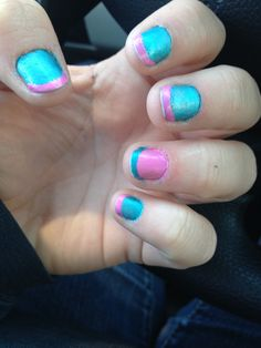 Sally Hansen Xtreme Wear Bubble Gum pink and Sally Hansen Satin Glam Teal Tulle french manicure