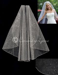 Glamour Glitter Bridal Veil Fingertip Length from Cassandra Lynne