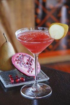"""the fall cocktail"" — 1½ oz. Pear Vodka, ¾ oz. Cranberry Liquor and 1 oz. Apple Juice."