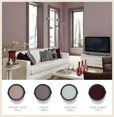 Bathroom Colors Behr Wall Colours 22 Ideas For 2019 Mauve Living Room, Living Room White, White Rooms, Living Room Decor, Living Rooms, Apartment Living, Burgundy Living Room, Family Rooms, Apartment Interior