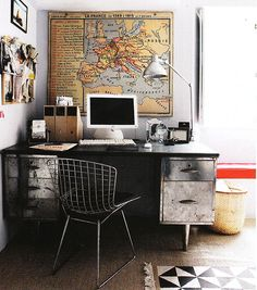 Masculine Industrial style metal desk would work well for me and ben in a home office...cant imagine coming across a desk like this easily
